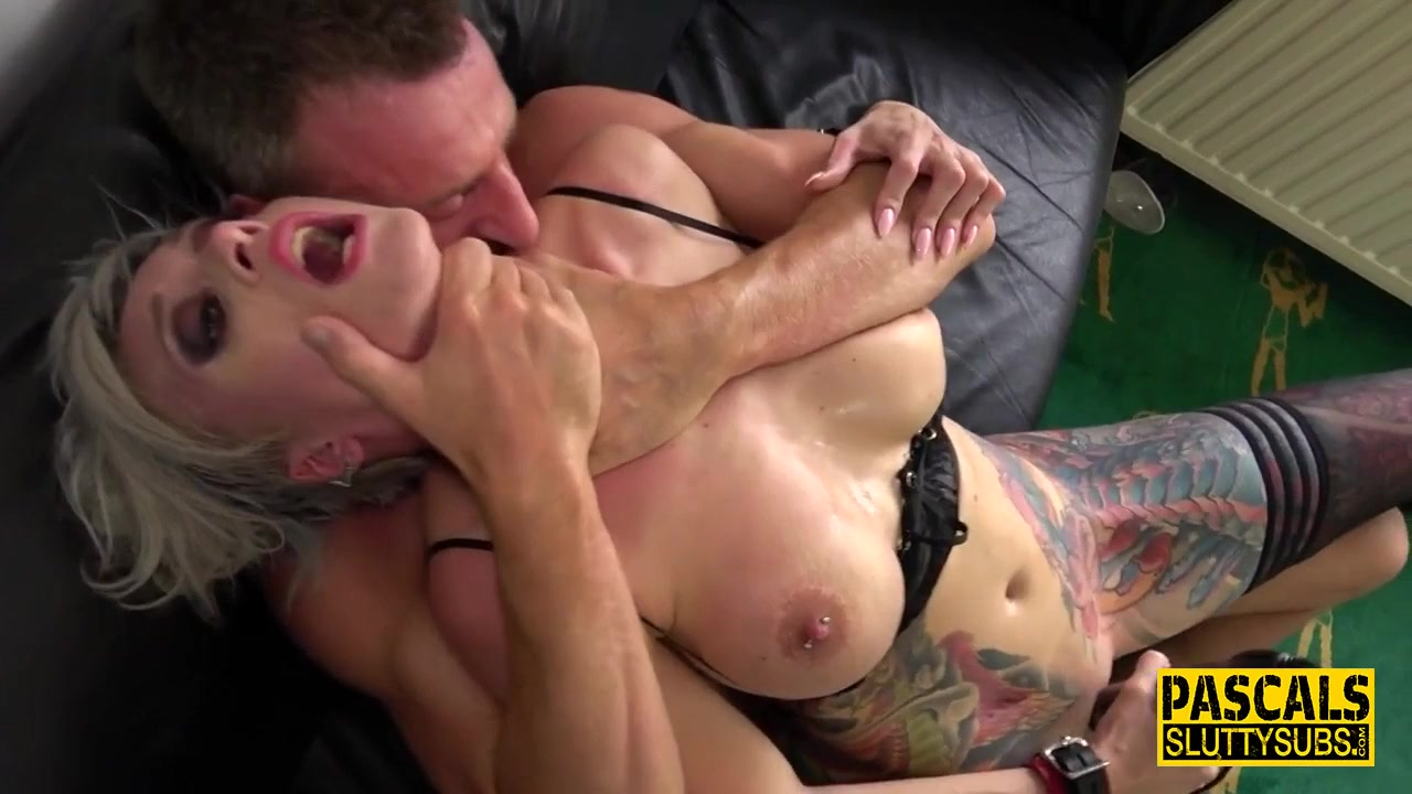 Inked Full-Bosomed Mature Submissive Gets Throated - Anal Sex