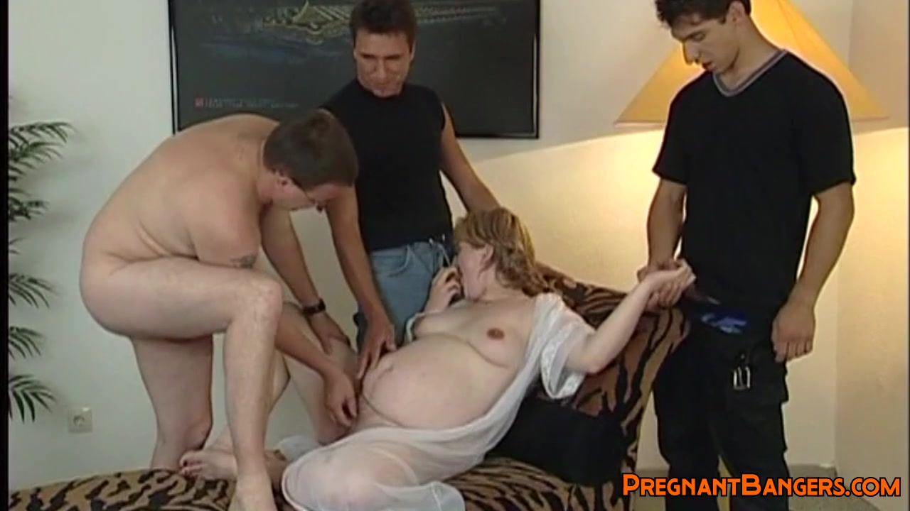 Pregnant babe getting shagged by three men